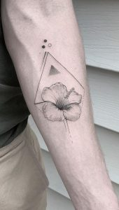 Forearm Geometric Flower Tattoo