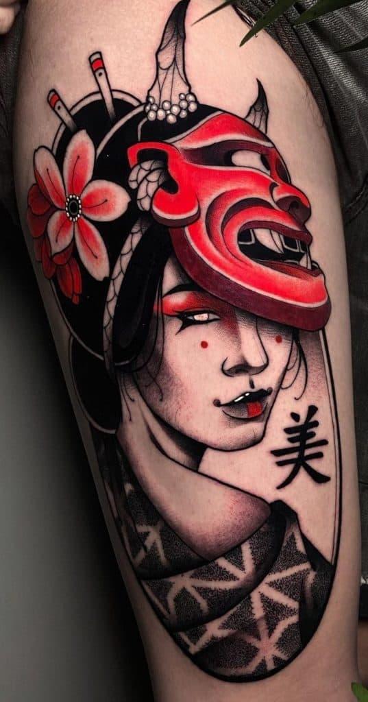 Geisha and Hannya Mask Tattoo