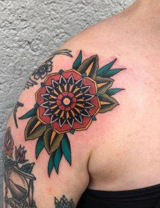 Geometric Flower Shoulder Tattoo