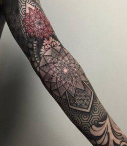 Geometric Flower Tattoo Sleeve