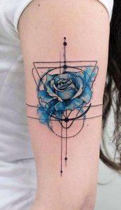 Geometric Watercolor Rose Tattoo