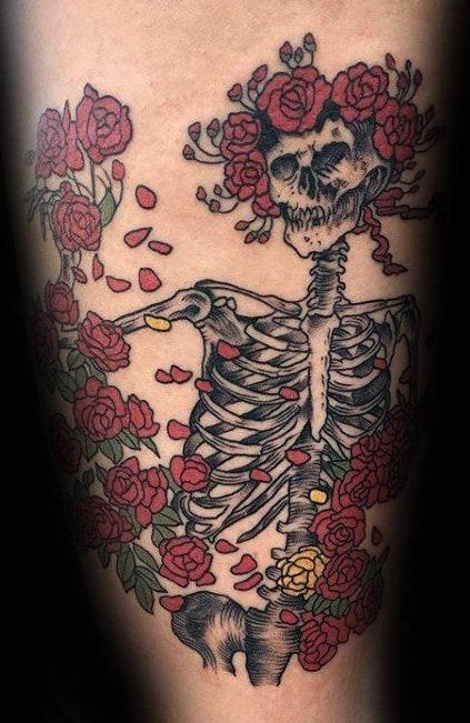 Grateful Dead Skull and Roses Tattoo