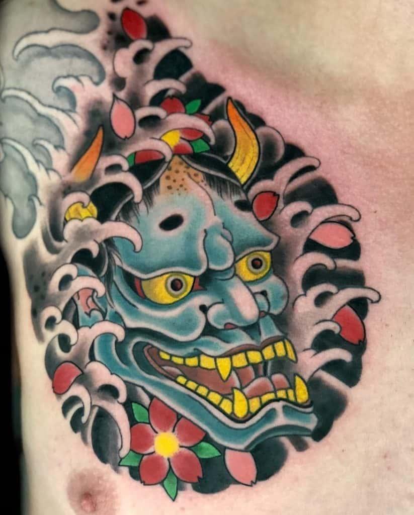 Hannya Mask Chest Tattoo