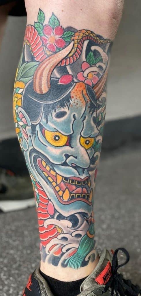 Hannya Mask Leg Tattoo
