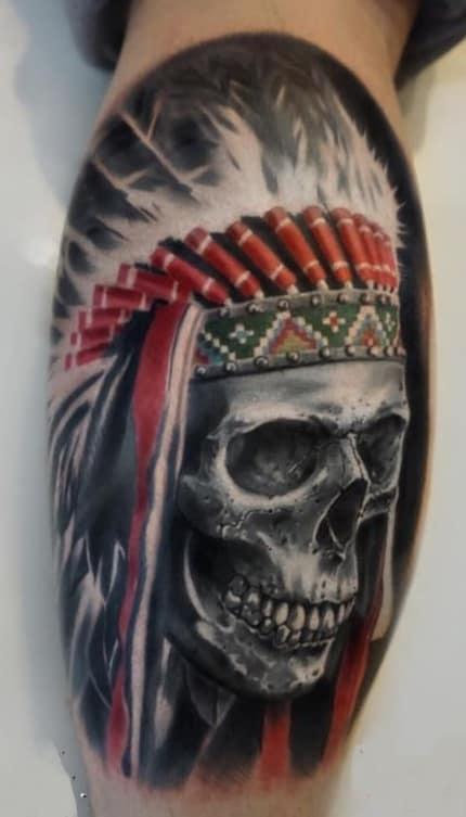 Indian Skull Headdress Tattoo