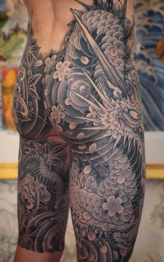 Japanese Dragon and Flower Tattoo