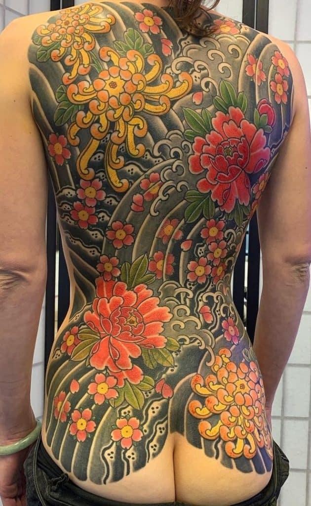 Japanese Flower Back Tattoo