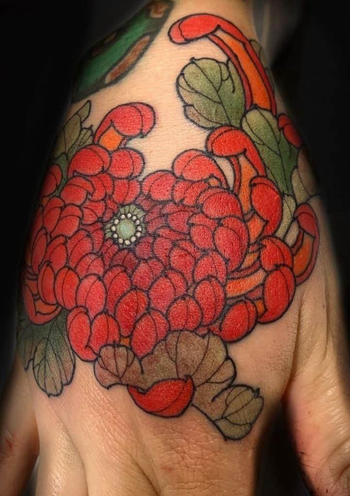 Japanese Flower Hand Tattoo