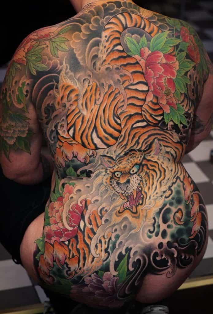 Japanese Peony and Tiger Tattoo