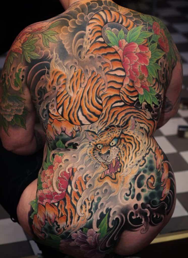 Japanese Tiger Back Tattoo
