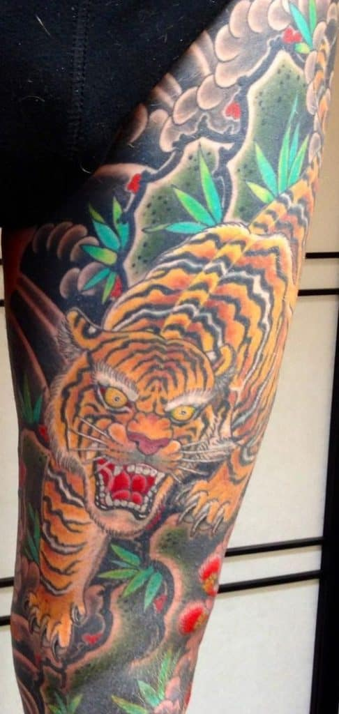 Japanese Tiger Leg Tattoo