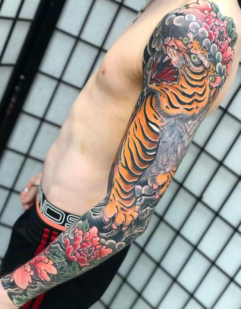 Japanese Tiger Sleeve Tattoo