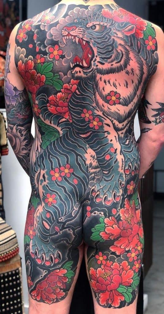 Japanese White Tiger Tattoo