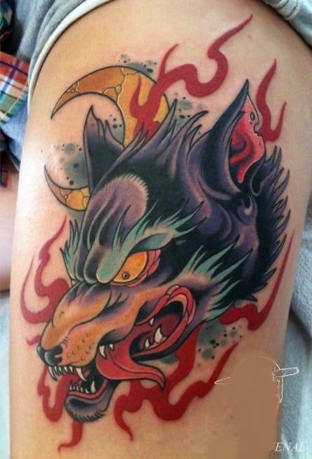 Japanese Wolf Head Tattoo