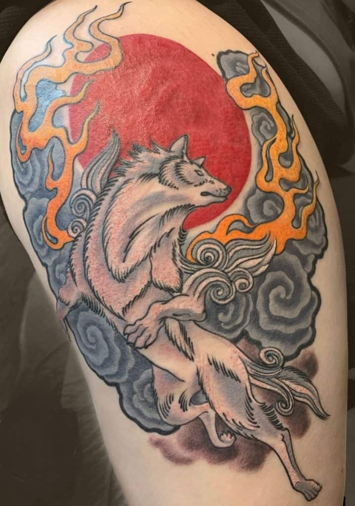 Japanese Wolf Tattoo