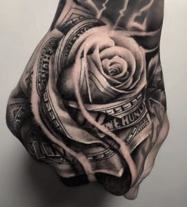 Money Rose Hand Tattoo