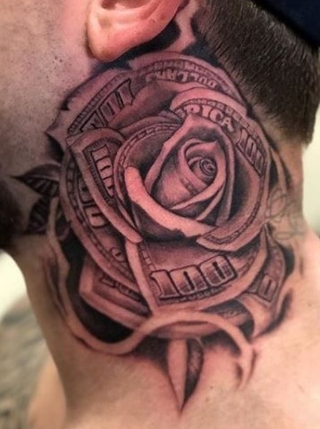 Money Rose Tattoo on Neck