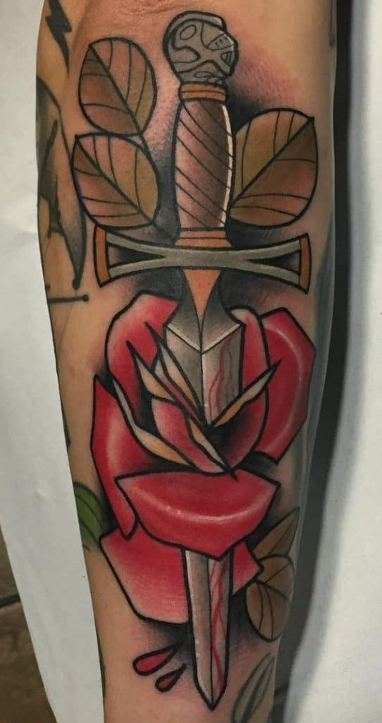 Neo-traditional Dagger and Rose Tattoo