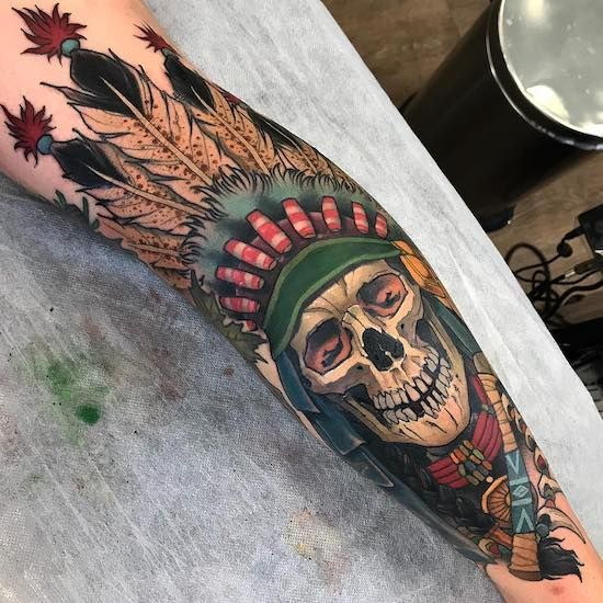 Neo-traditional Indian Skull Tattoo