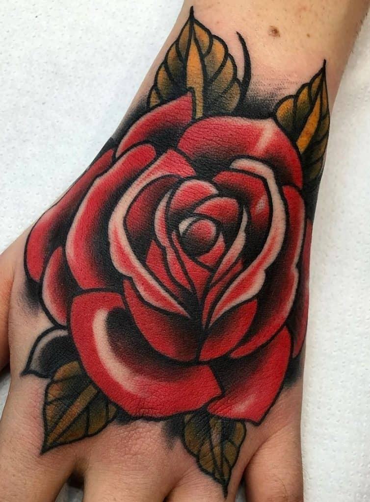 Neo-Traditional Rose Tattoo