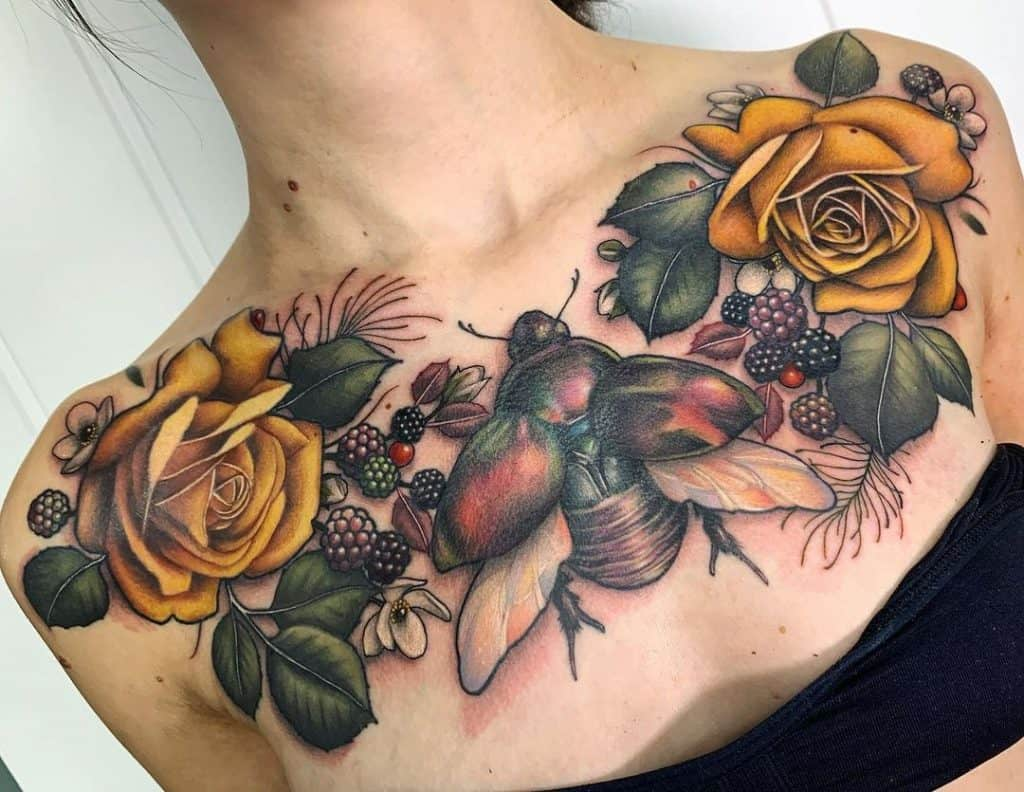 Neo-traditional Yellow Rose Tattoo