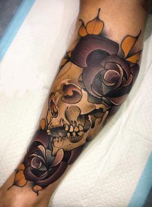 Neotraditional Skull and Rose Tattoo