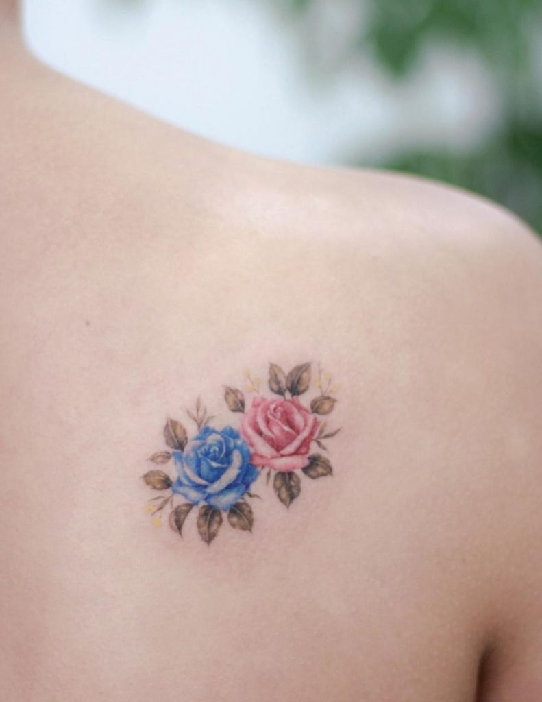 Pink and Blue Rose Tattoo