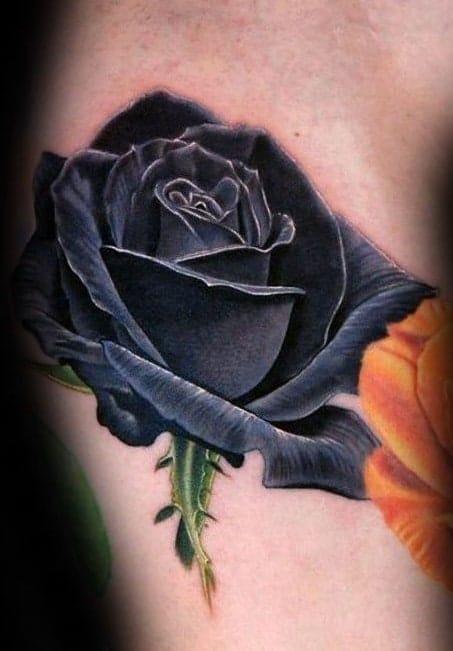 Realistic Black Rose Tattoo