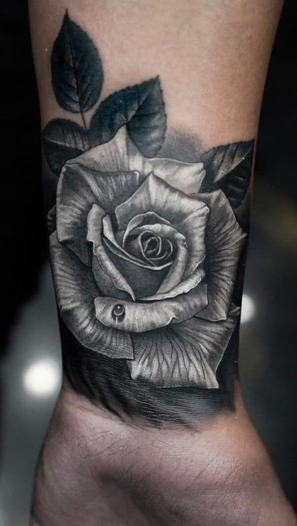Realistic Black and Grey Rose Tattoo