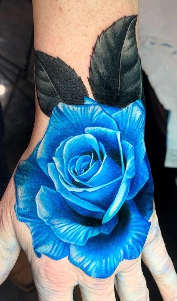 Realistic Blue Rose Tattoo