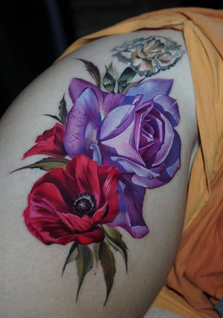 Realistic Purple Rose Tattoo