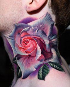 Realistic Rose Neck Tattoo