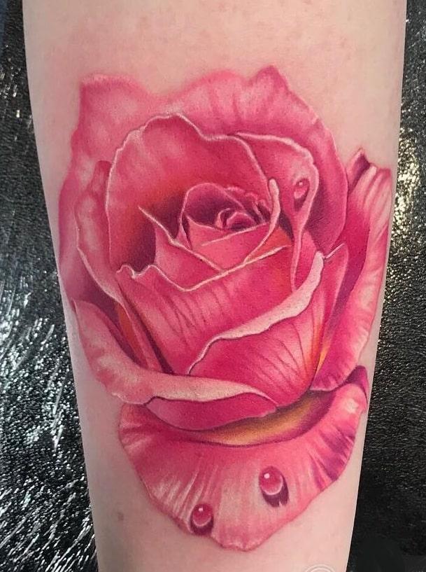 Realistic Rose Tattoo