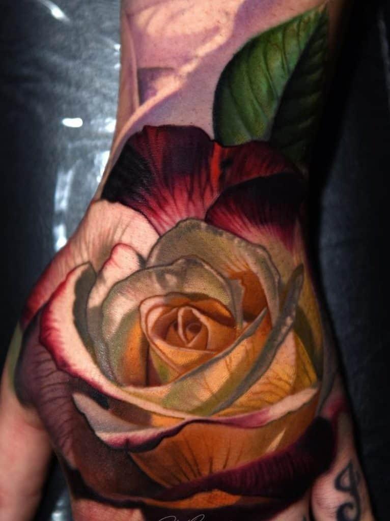 Realistic Rose Tattoo Hand Tattoo