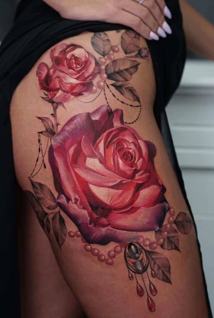 Realistic Rose Tattoo Thigh Tattoo