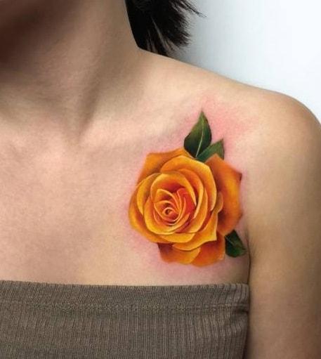Realistic Yellow Rose Tattoo