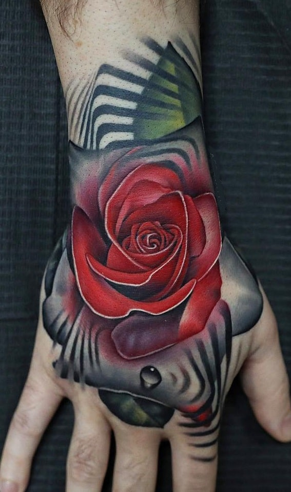 Red Rose Hand Tattoo