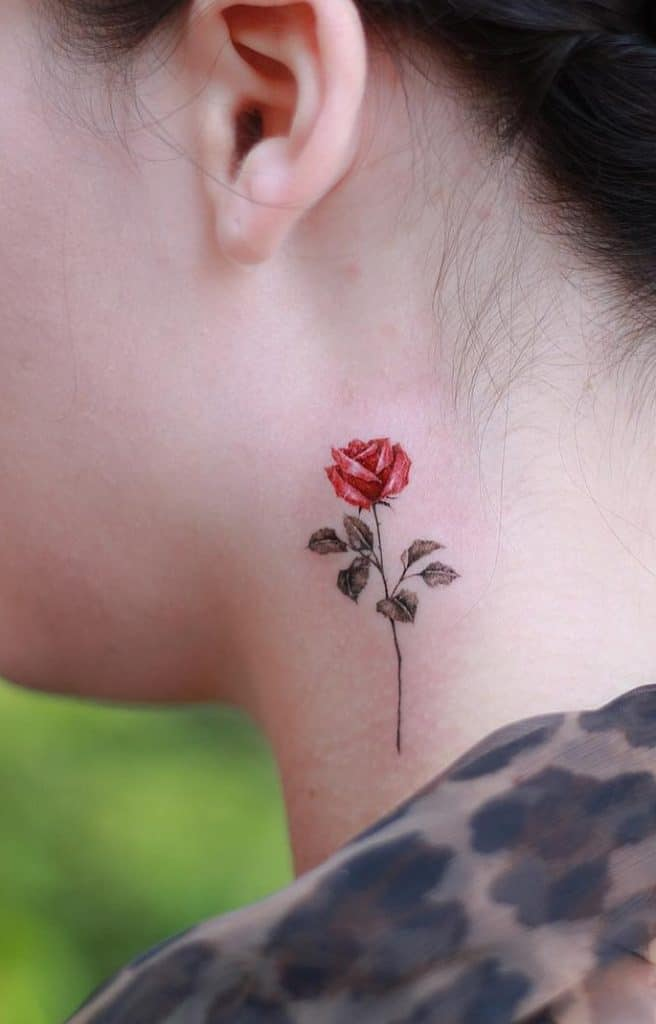 Red Rose Neck Tattoo
