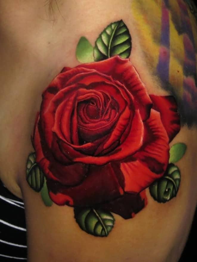 Red Rose Shoulder Tattoo