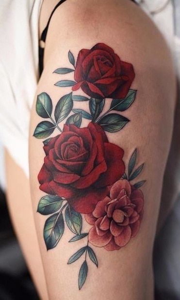 Red Rose Thigh Tattoo