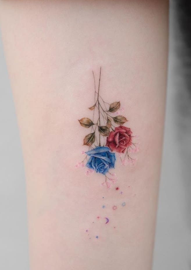 Red and Blue Rose Tattoo