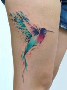 Single Hummingbird Watercolor Tattoo