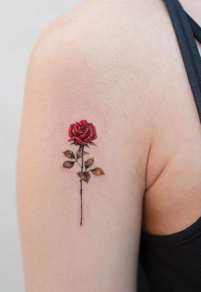 Single Red Rose Tattoo