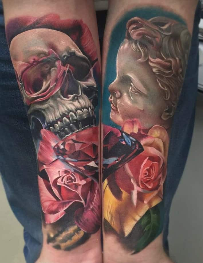 Skull and Rose Forearm Tattoo