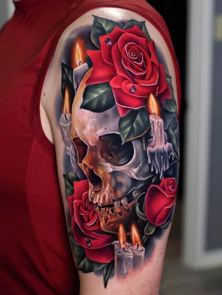 Skull and Rose Tattoo
