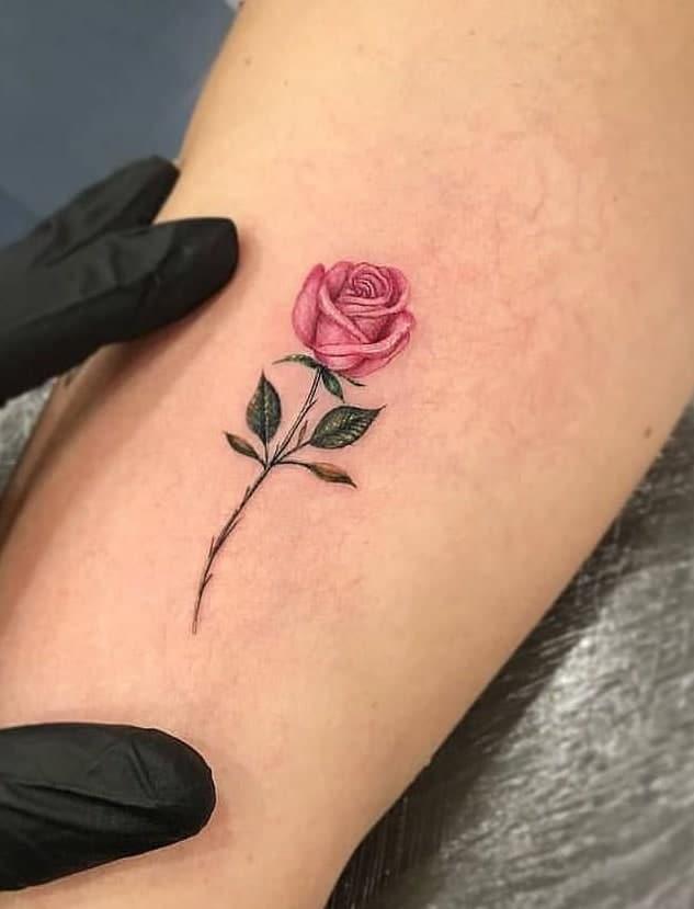 Small Realistic Rose Tattoo