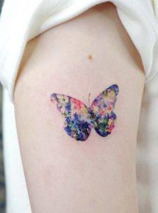 Small Watercolor Butterfly Tattoo
