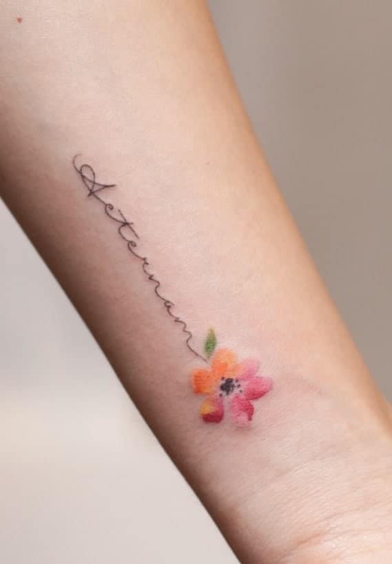 Small Watercolor Flower Tattoo