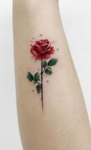 Small Watercolor Rose Tattoo
