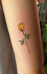 Small Yellow Rose Tattoo